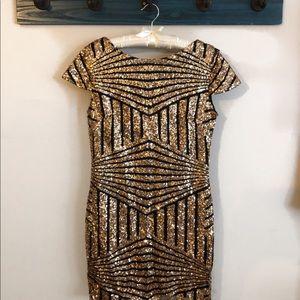Large geometric gold sparkle party dress